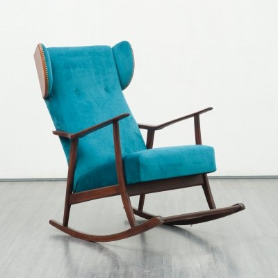 Petrol blue rocking chair, 1950s