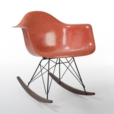 Orange 3rd Generation Zenith Original Vintage Eames RAR Rocking Arm Chair
