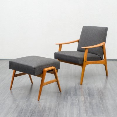 Mid-Century 1960s easy chair with foot stool