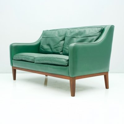 Two-Seat Sofa in Green Leather, Italy 1958