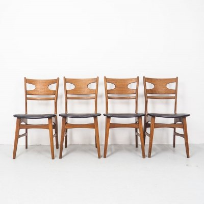 Set of 4 Danish design teak dining chairs, 1960's