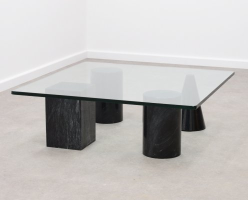 Geometric black marble & glass Italian coffee table, 1980s