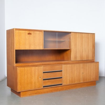 Teak wall unit / sideboard, 1960s