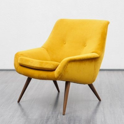 1950s cocktail chair in yellow
