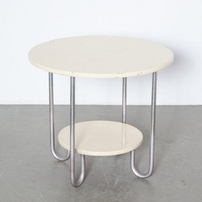 Two-tier round Bauhaus side coffee table