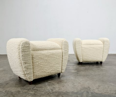 Set of 2 French footstools/poufs, 1970s