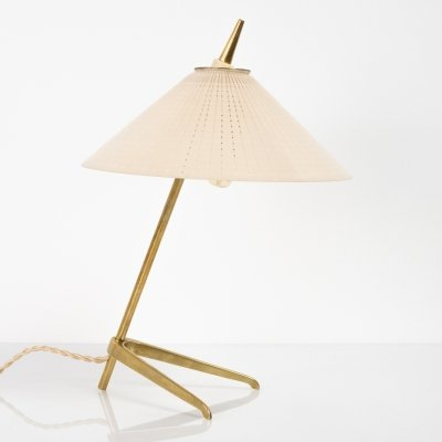 Table lamp in messing & glass, 1950s