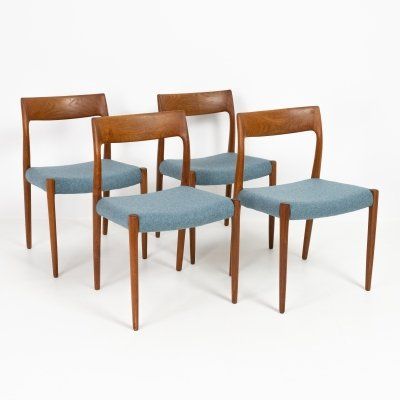 Set of 4 model 77 chairs by Niels Otto Møller, 1960s