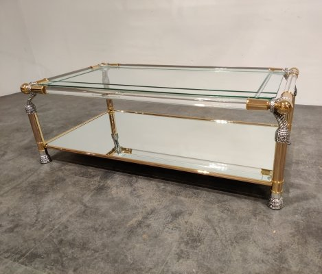 Brass & lucite coffee table, 1980s