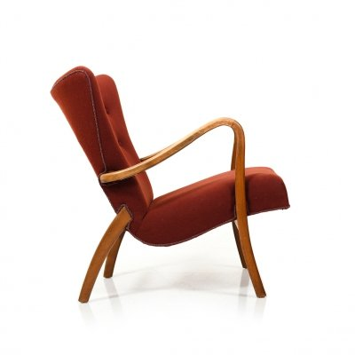 Late 1940s Danish Lounge Chair in Organic Shaped Form