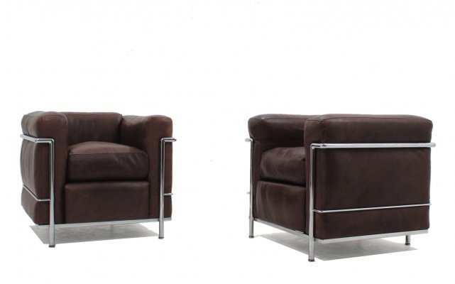 Vintage LC2 leather armchairs Le Corbusier for Cassina, 1970s