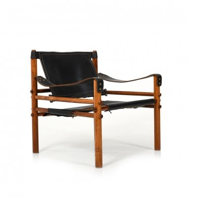Black leather 'Sirocco' Safari Chair by Arne Norell, 1964