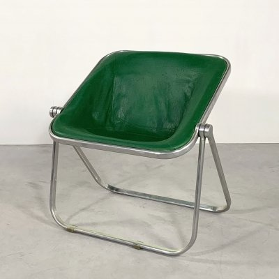 Green Leather Plona chair by Giancarlo Piretti for Castelli, 1970s
