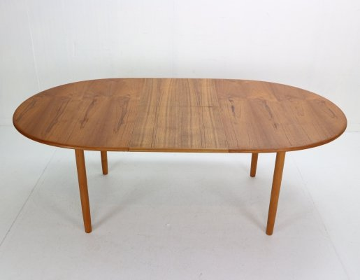 Solid Teak Oval Extendable Dining Table, Denmark 1960
