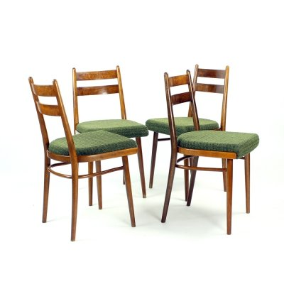 Set of 4 Dining Chairs In Oak & Fabric by Interier Praha, Czechoslovakia 1966