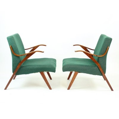 Bentwood Armchair In Original Green Fabric by Mier, Czechoslovakia 1964