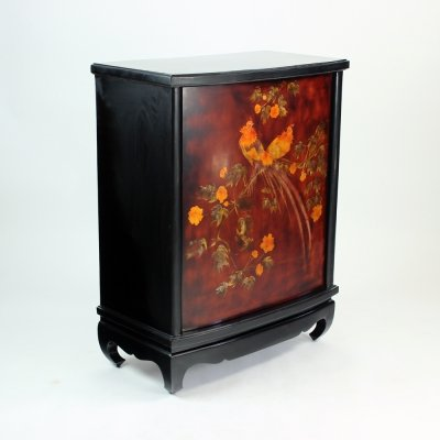 Tall Vintage Bar with Swivel Door In Black Wood, Czechoslovakia 1960s