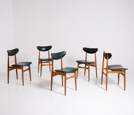 Set of 5 Nordic Chairs in Green Leather & Wood, 1950s