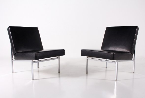 Pair of black leather lounge chairs, 1970's