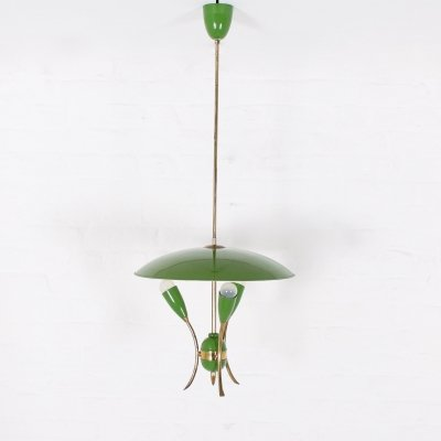 Green lacquered sheet metal & brass suspension with 3 lights, Italy 1960's