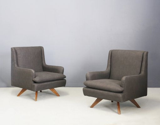 Pair of Armchairs in Cotton & Wood, 1960s
