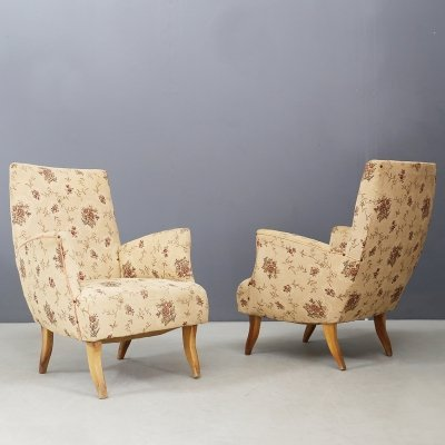Pair of Armchairs in Cotton & Wood, 1950s