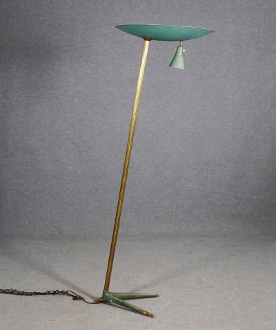 Brass & Iron Floor Lamp, 1940s