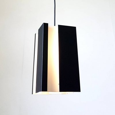 Black & white modernist pendant lamp, 1960s