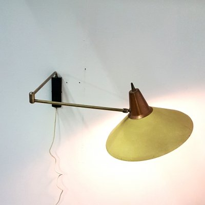 Mid century swing arm wall lamp, Netherlands 1950s