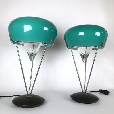 Vintage Pair of large Murano Glass Table lamps by De Majo, 1970s