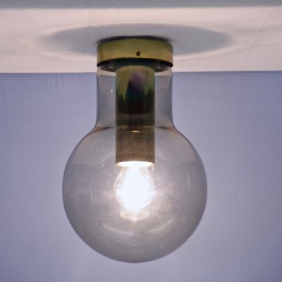 Dutch ceiling light in tinted glass by Raak Amsterdam, 1960s