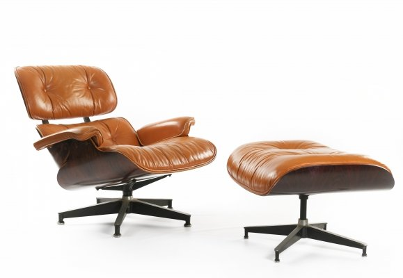 Rare Orange Burnt + Brazilian Rosewood Eames Lounge Chair by Herman Miller, 1976