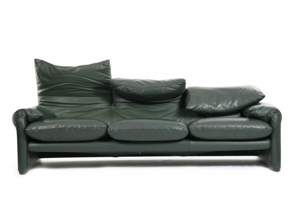 Rare Green leather Maralunga sofa by Vico Magistretti for Cassina, 1997