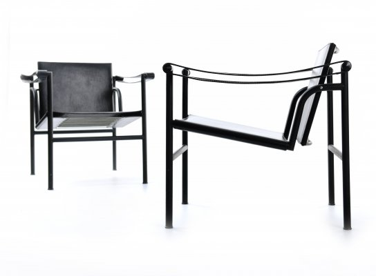 Le Corbusier Black Edition LC1 chairs by Cassina, 1995