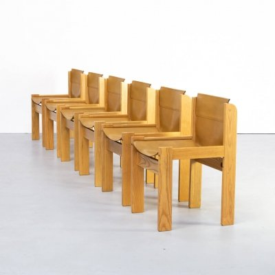 Set of 6 wooden framed saddle leather chairs for Ibisco, 1970s