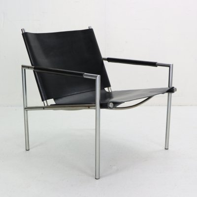 SZ02 Black Leather Armchair by Martin Visser for t Spectrum, 1960s