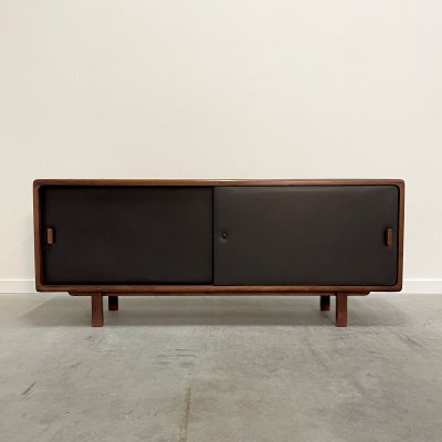 Vintage sideboard made from rosewood & leather, 1970s