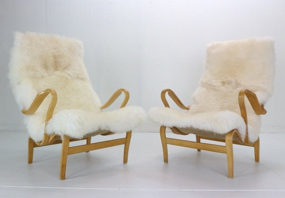 Bruno Mathsson set of 2 'Pernilla' Lounge Chairs for DUX, Sweden 1969