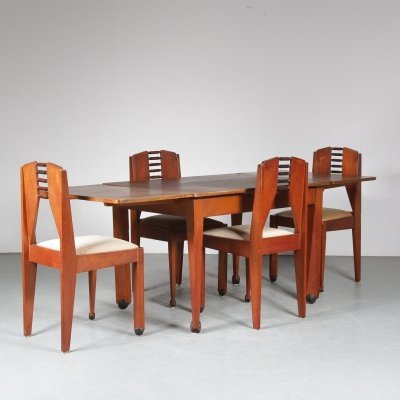 1920s Amsterdamse School dining set from the Netherlands
