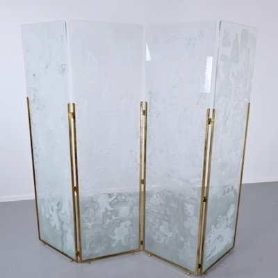 Belgian Folding Screen Composed of Four Engraved Glass Panels, Signed 1942