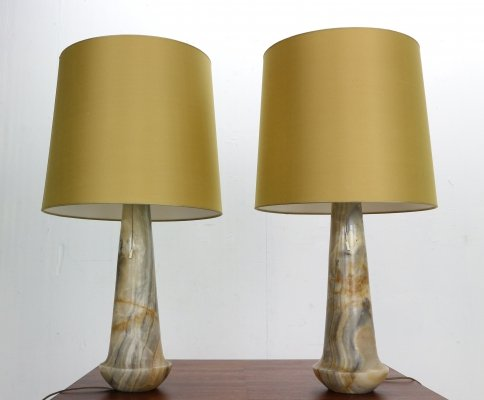 Set of 2 Mid-Century Modern Marble Table/Nightstand Lamps, Italy 1960s