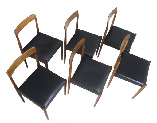 Set of 6 dinner chairs in rosewood & leather from Lübke, Germany 1960s