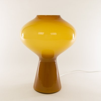 Large Amber hand-blown Fungo table lamp by Massimo Vignelli for Venini