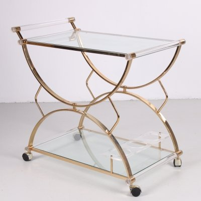 Hollywood regency style drinks trolley in perspex, 1970s