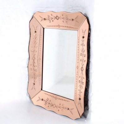 Venetian engraved & bevelled mirror in pink colored glass, 1930's