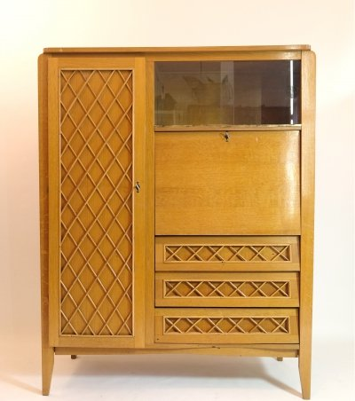 French wooden wardrobe & secretaire with a wicker decoration