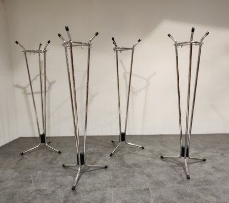 Vintage chrome coat stands by Willy Van Der Meeren for Tubax, 1970s