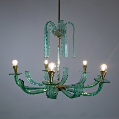 Italian Chandelier in Glass And Brass, 1940s
