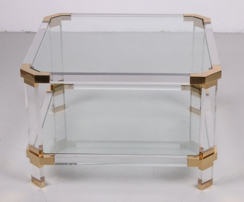 Charles Hollis Jones Coffee table in lucite & brass, 1970