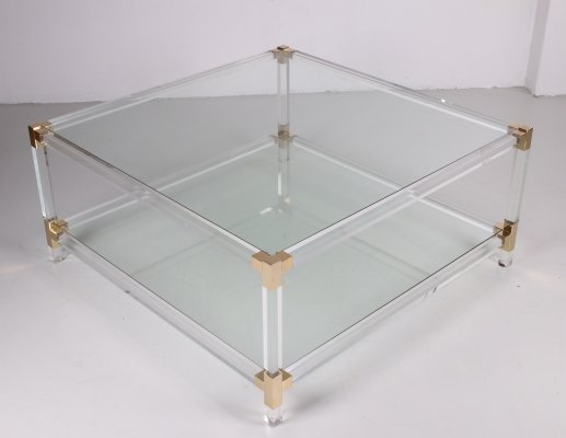 Charles Hollis Jones Coffee table in lucite & brass, 1970s